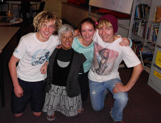 Deb Gray with students